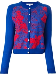 Carven Printed Lace Front Cardigan Blue