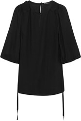 Ann Demeulemeester Pleated Voile Blouse Black