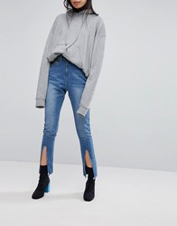 Liquor N Poker Skinny Jean With Exposed Zip And Spliced Hems Blue