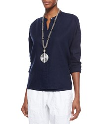 Eileen Fisher Mandarin Collar Organic Linen Long Sleeve Top Midnight Black