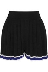 Tabula Rasa Aracari Pleated Striped Stretch Knit Shorts Black