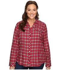 Columbia Plus Size Simply Put Ii Flannel Shirt Chianti Check Women's Long Sleeve Button Up Red