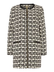 Biba Geometric Monochrome Cocoon Coat Black White
