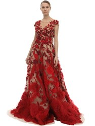 Marchesa Embellished Tulle And Silk Organza Dress Red