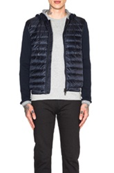 Moncler Cardigan Jacket With Hood In Blue