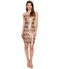 Unique Vintage Sequin Geometric Deco Sheer Clifton Flapper Dress Bronze Women's Dress