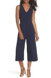Vince Camuto Crepe Cropped Jumpsuit Navy