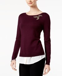 Charter Club Petite Layered Look Sweater Created For Macy's Damask Plum