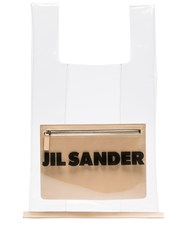 Jil Sander Transparent Logo Market Bag Neutrals