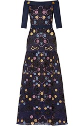 Peter Pilotto Cora Off The Shoulder Matelasse Gown Navy