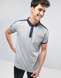 Brave Soul Strip Polo Shirt With Contrast Pocket Charcoal Grey