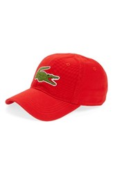 Lacoste Men's 'Big Croc' Logo Embroidered Cap Red