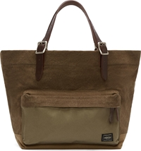 Porter Khaki Leather And Canvas Tote Bag
