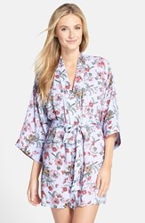 Women's Nordstrom Lingerie 'Sweet Dreams' Woven Robe Blue Feather Floral