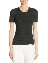 Akris Punto Ruched Zip Front Tee Forest