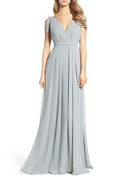 Monique Lhuillier Bridesmaids Women's Sleeveless Deep V Neck Chiffon Gown Sea