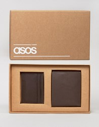 Asos Gift Set With Leather Wallet And Card Holder Brown