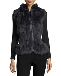 Belle Fare Rabbit Fur Vest Navy