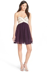 Blondie Nites Jeweled Bodice Strapless Dress Eggplant