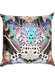 Roberto Cavalli Large Flying Wings Satin Accent Pillow Multicolor