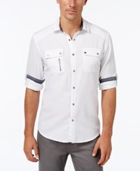 Inc International Concepts Men's Banquo Multi Pocket Long Sleeve Shirt Only At Macy's White Pure