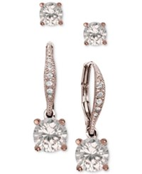 Giani Bernini 2 Pc. Cubic Zirconia Earring Set In 18K Rose Gold Plated Sterling Silver Only At Macy's