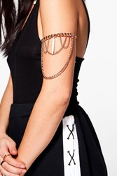 Boohoo Crystal And Chain Drop Arm Cuff Rose Gold