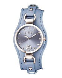 Versus By Versace 34Mm Roslyn Studded Leather Cuff Watch Blue