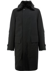 Ann Demeulemeester Sheep's Fur Lined Coat Cotton Acrylic Polyester Wool M Black
