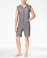 Bar Iii Men's Zip Short Hooded Jumpsuit Pajamas Created For Macy's Onyx