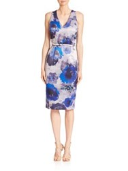 David Meister Floral Printed Sheath Dress Blue Grey