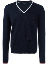 Lanvin Openwork V Neck Jumper Blue