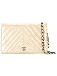 Chanel Vintage V Quilted Woc Metallic