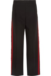 Alexander Mcqueen Wool And Silk Blend Gabardine Wide Leg Pants Black