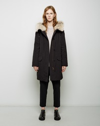 Army By Yves Saloman Coyote Fur Lined Weatherproof Parka Black