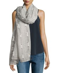 Neiman Marcus Allover Tufts Lightweight Scarf Gray