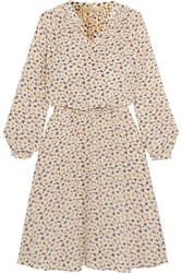 Vanessa Bruno Gagny Floral Print Silk Crepe De Chine Dress Off White
