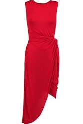 Bailey 44 Ruched Twist Front Stretch Jersey Dress Red