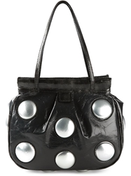 Carmina Campus Large Studs Shoulder Bag Black