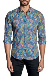 Jared Lang Paisley Sport Shirt Blue Multi Print