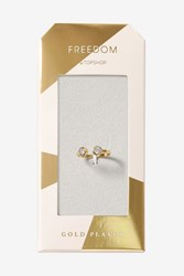 Topshop Gold Plated Stone Ring Clear