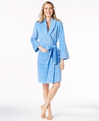 Charter Club Petite Supersoft Short Robe Iris Mist