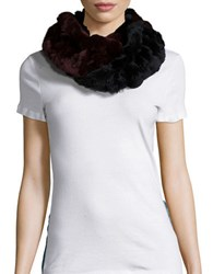 Surell Rex Rabbit Fur Infinity Scarf Black Wine