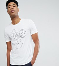 Selected Homme Tall T Shirt With Floral Drawing Bright White Flower