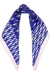 Sandro Printed Silk Twill Scarf Royal Blue