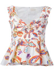 Peter Pilotto Floral Peplum Blouse White
