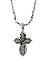 Effy Collection Balissima By Effy Diamond Cross Pendant Necklace 1 3 Ct. T.W. In Sterling Silver And 18K Gold Silver Gold