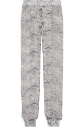 Joseph Mara Lace Print Silk Chiffon Tapered Pants