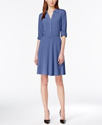 Ny Collection Long Sleeve Shirtdress Victoria Blue