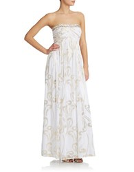 Decode 1.8 Strapless Embellished Gown White Gold